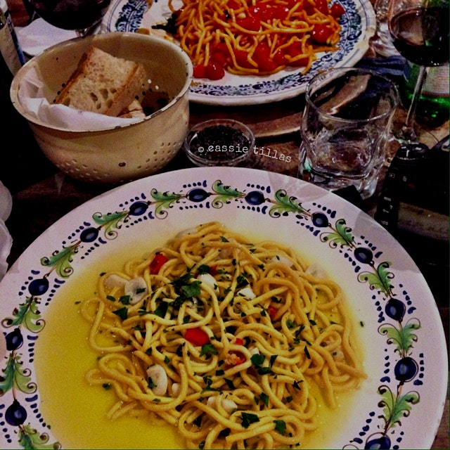 Spaghetti alla Chitarra, with garlic, olive oil and chili peppers. 6€ for this, the smaller porti...