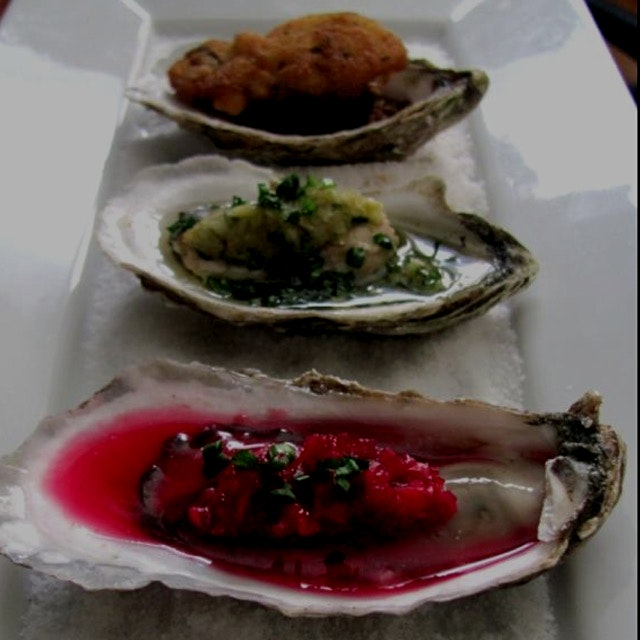 Well fleet oysters raw, poached and fried!!