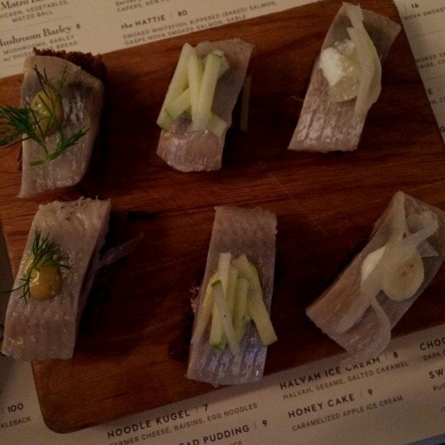 Herring bites at Russ & Daughters look like sushi