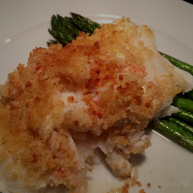 Crab stuffed sea bass.  Fresh asparagus.