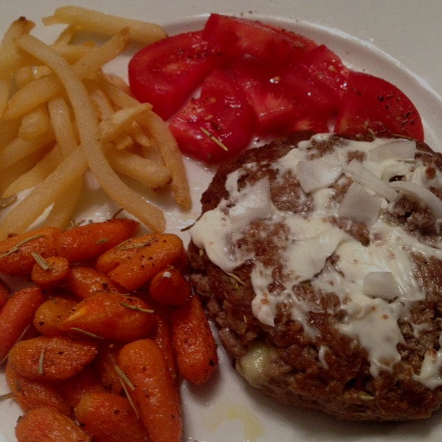 Dinner! Rosemary-bleu turkey burger, fresh tomatoes, Rosemary carrots, shoestring fries!