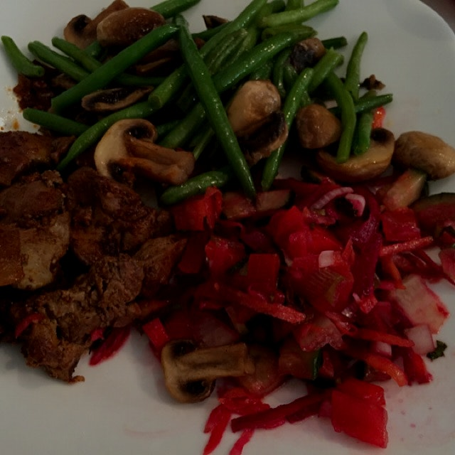 Special brunch at my sister in Kfar yona Israel  Veg salad with added grated beets, chicken liver...