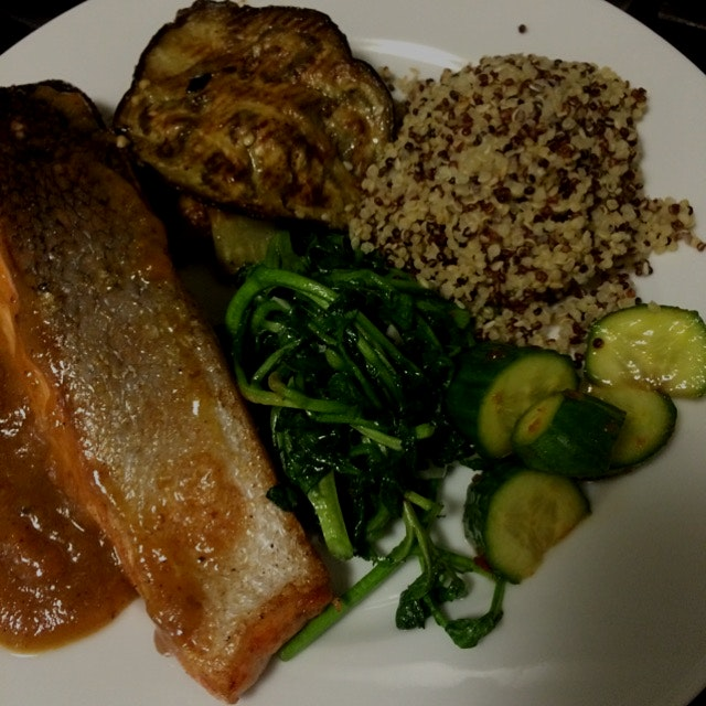 Pan roasted salmon with apricot miso glaze