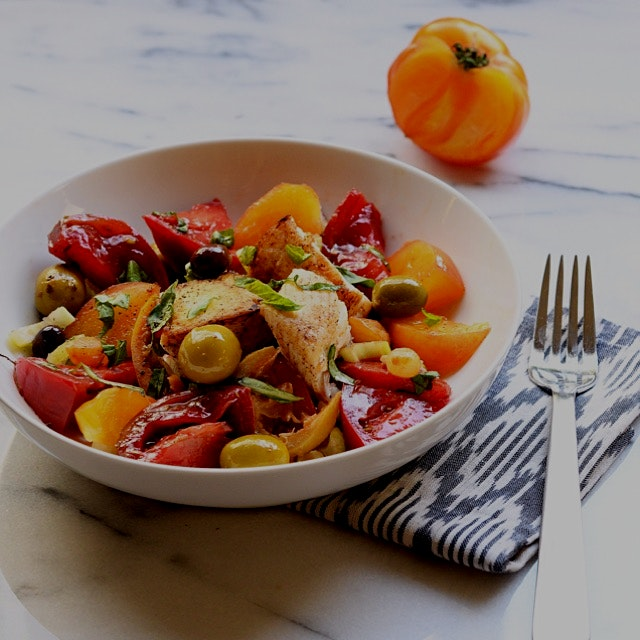 A pleasing and healthy spring dish that uplifts me: pan seared halibut fillets, heirloom tomatoes...