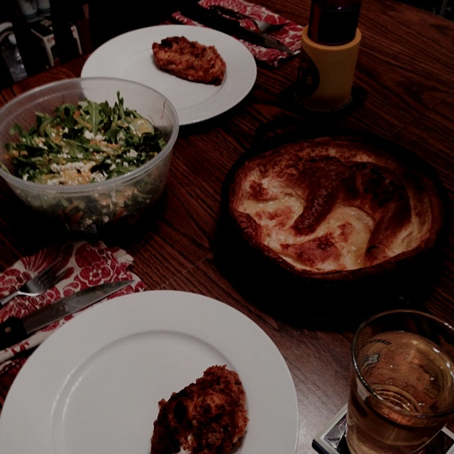 Fried Chicken and Dutch Baby (we don't own a waffle maker) and arugula spring salad.