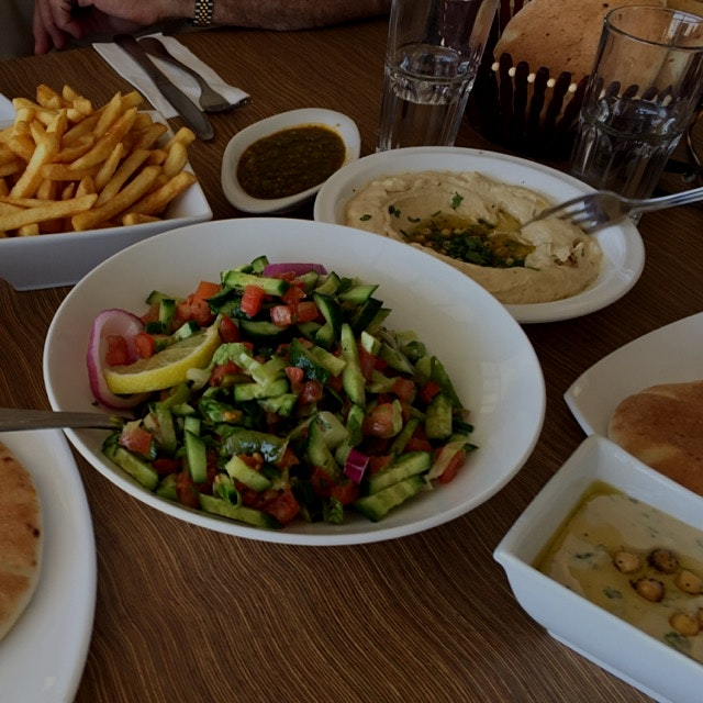Middle eastern lunch on the way to Eilat - Israel. just what the dr ordered. Vegetables salad, hu...