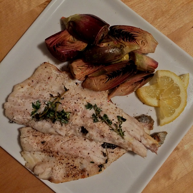 grilled branzino with garlicky artichokes #whatsgordinner