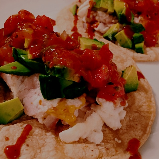 Egg whites, daiya cheese and turkey for a slightly lighter take on breakfast tacos (for dinner!).