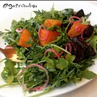 Beet salad over a bed of arugula with a light olive oil dressing.  Healthy travels!
