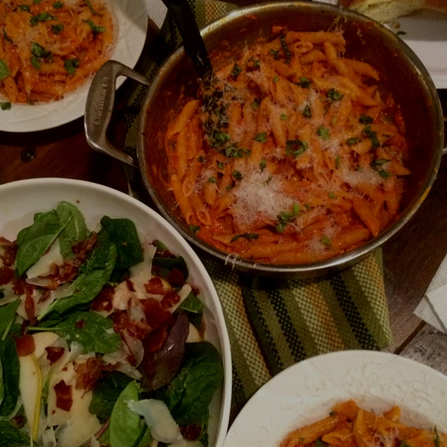 Sunday's supper:  Penne Alla Vodka and a Spinach and Pear Salad with Prosciutto, Parmigiano Reggi...