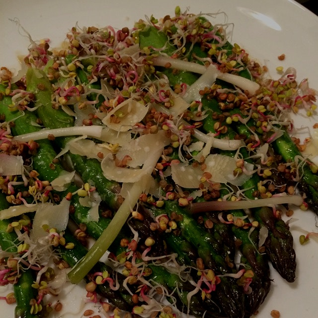 Greenmarket asparagus, radish sprouts, fermented ramps