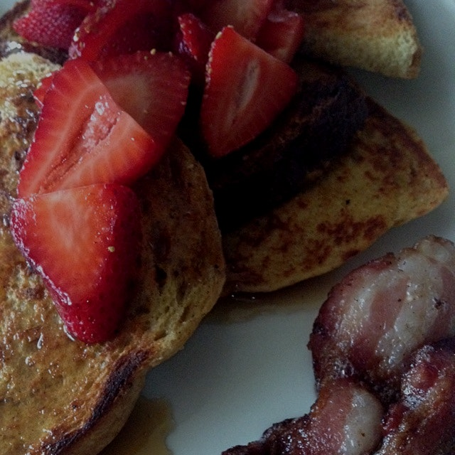 Three bread French toast with strawberries!