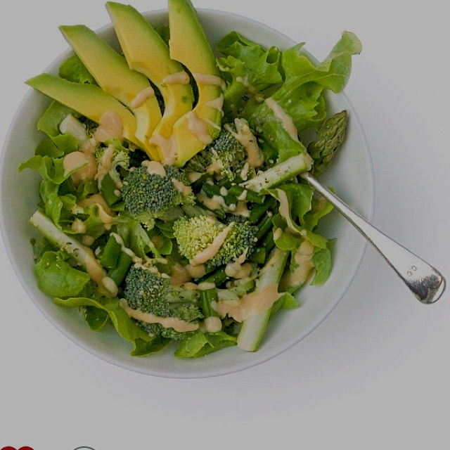 Raw green salad with ginger and miso dressing. Recipe on eatrealfoodnyc.com