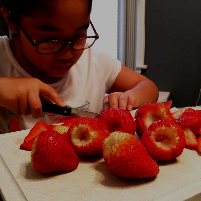 Perfect cored and quartered strawberries for breakfast!! #FoodRevolution