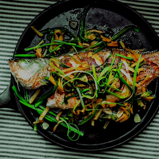 Yes, you can try this with ramps too! Pan-fried whole fish with ginger and scallions from #thefoo...