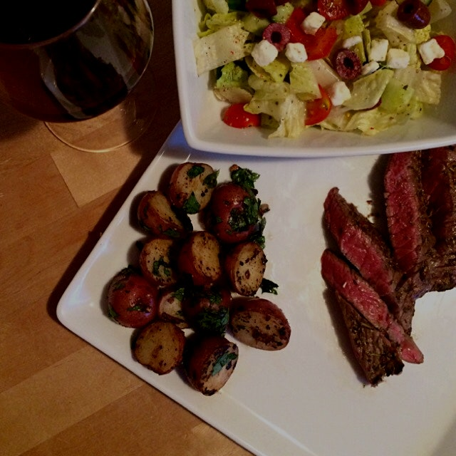 seared steak with garlicky potatoes & greek salad #platedpics #whatsfordinner