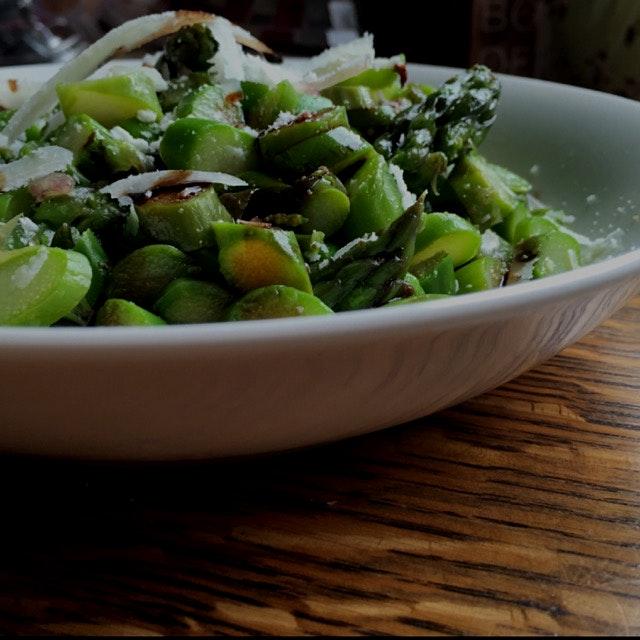 Made a killer spring salad with fresh asparagus and a honey lime shallot vinaigrette. Link to rec...