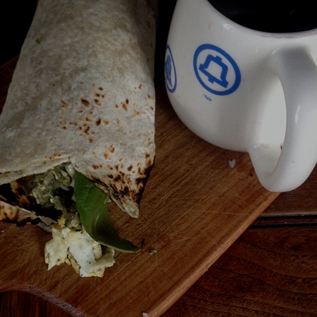 Thai chicken breakfast burrito, with a spot of tea.