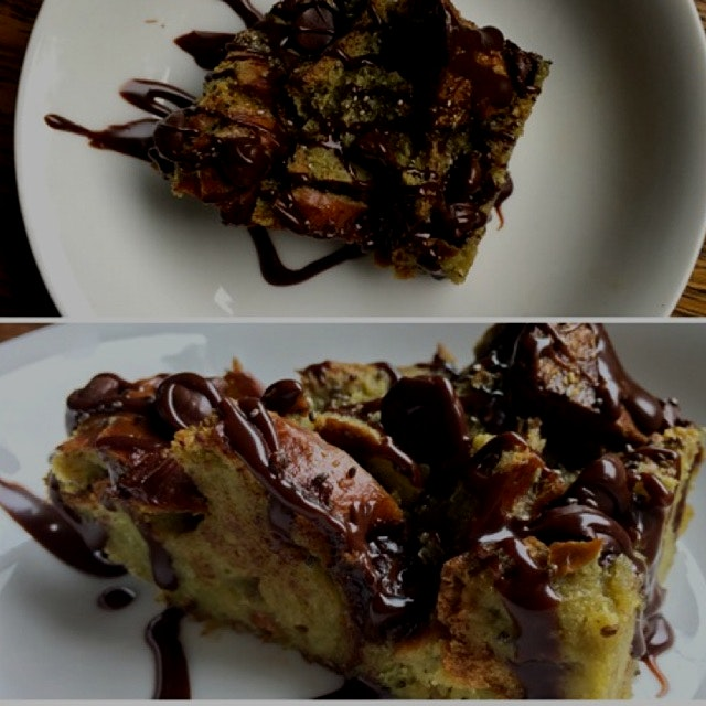 A dessert so nice, just one photo wouldn't suffice... Matcha bread pudding with a Nutella drizzle...