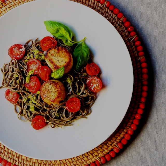 A modern pasta dish:  black bean spaghetti ( low in carbs, high in protein & fiber) tossed in bas...