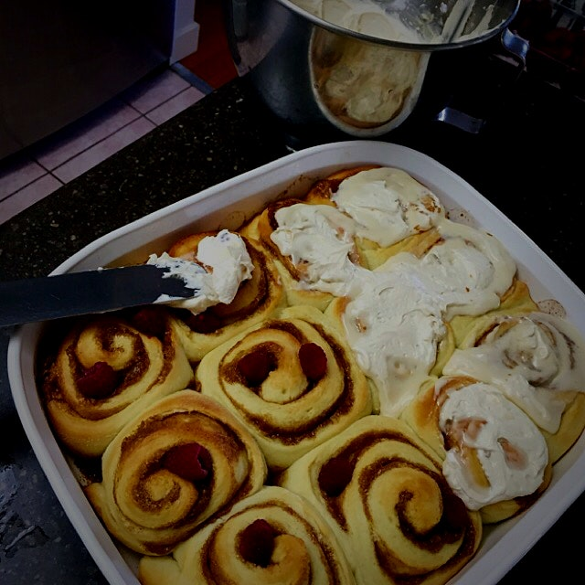 A good way to get the boys up in the morning with fresh, hot out of the oven Cinnamon Buns with C...