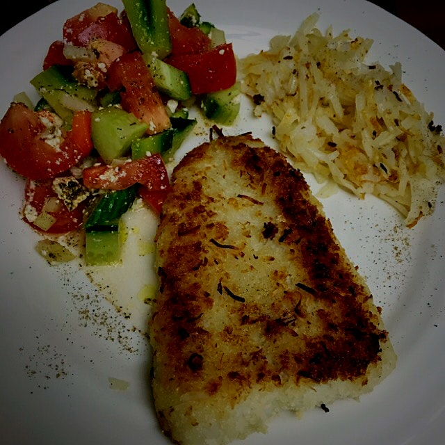 A simple Sunday night meal before the work week begins. Coconut encrusted fish, with Hashbrowns a...