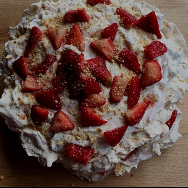 Made a Strawberry Cheesecake Marshmallow Pavlova, a twist on a Jamie Oliver recipe | recipe: http...