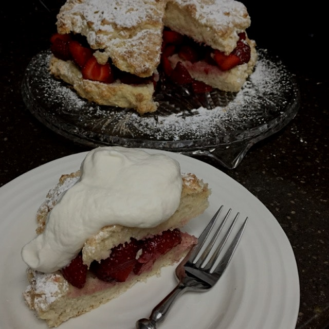Fresh market strawberries in a shortcake topped with whipped cream!!