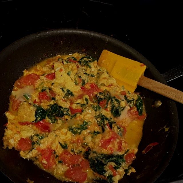 SATUR Farms Baby Spinach. Cage Free Eggs. Local Tomatoes and Applegate Naturals Cheddar Cheese ma...