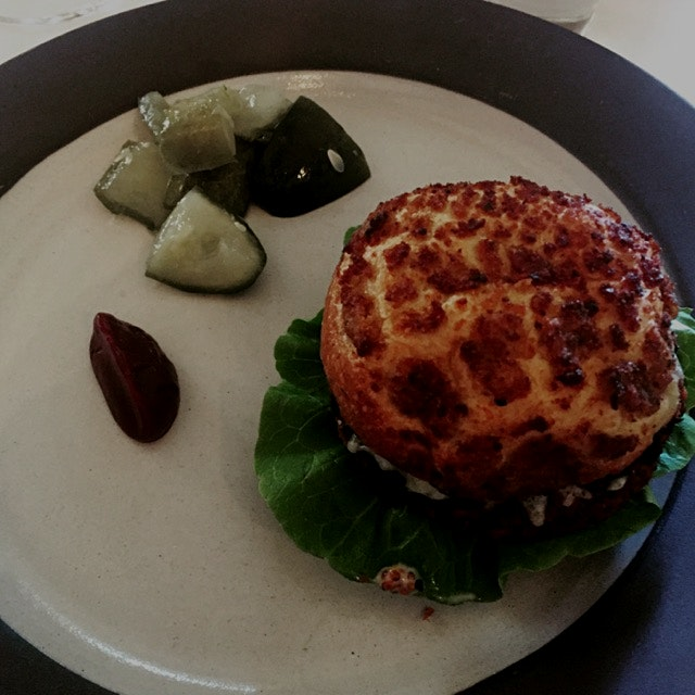 Veggie Burger made from remnants from juice production with a Beet and Rasberry Vinegar