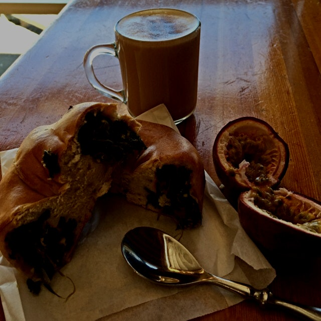 A lovely morning at Granville Island Market enjoying a Spinach Filled Bagel, a passion fruit and ...