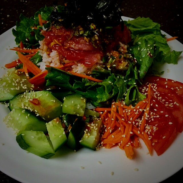 Korean Hoedeopbab!!! So fresh, love the raw fish and hot sauce made with Gochujang and the rice m...