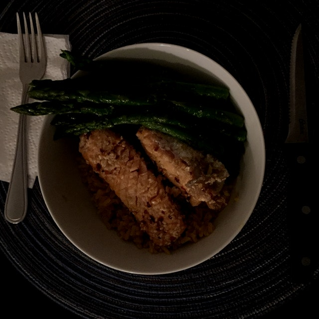 Last minute sunday night meal: spicy sesame-crusted salmon with asparagus over turneric brown ric...