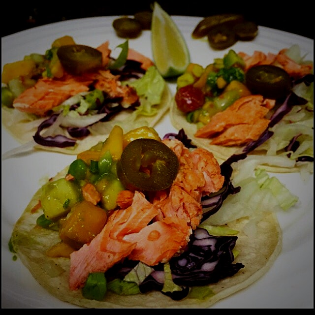 Taco Tuesday- Salmon Tacos with an Avocado Mango Salsa and lots of Jalepeno peppers!!! Fresh and ...