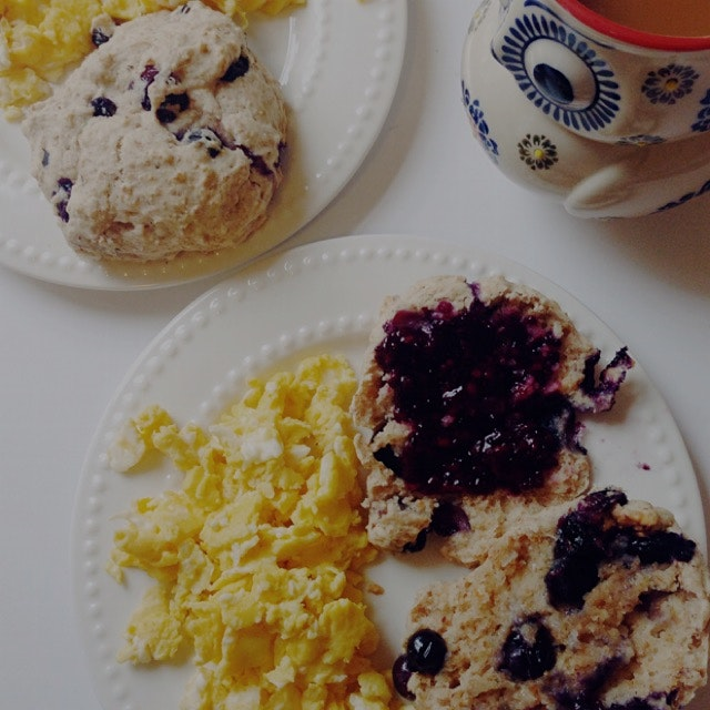 Blueberry scones and scrambled eggs for breakfast!