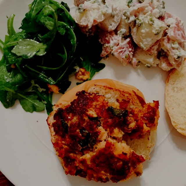 Wasn't the prettiest but it tasted great! Homemade salmon burger with lemon and mint, potato sala...