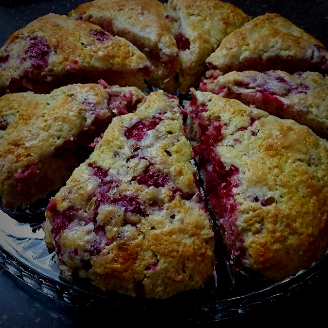 Treating my boys and workmates to some warm, fresh Raspberry Scones. I can smell the coffee alrea...