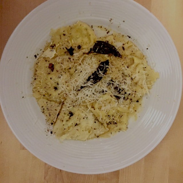 My first dish that I hand made my own pasta! Sage brown butter sauce and ricotta parmeson stuffed...
