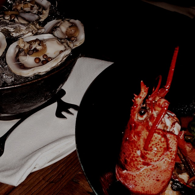 Kusshi Oysters and Chili Lobster at Marc Forgione Tribeca