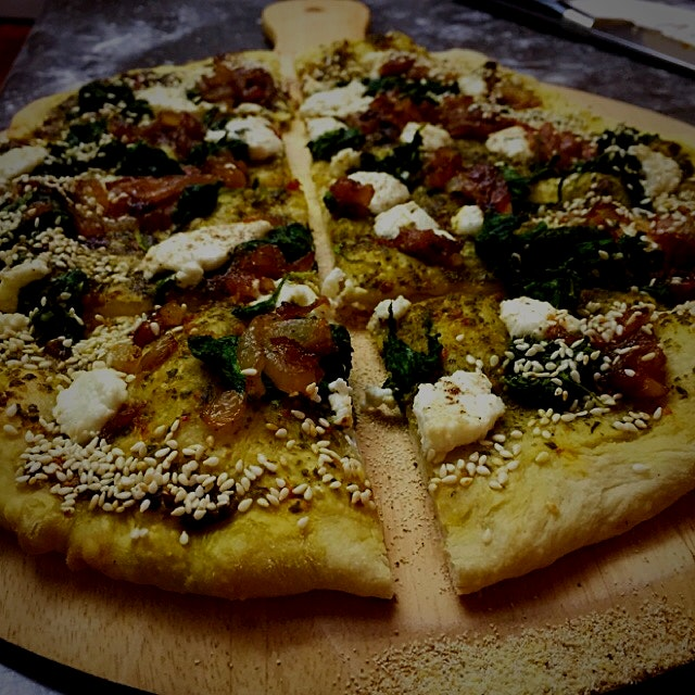 Pizza night on Main St. The boys loved the caramelized onions. More next time!!! Lovely rich flav...