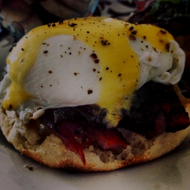 "First attempt at Eggs Benedict ""a la Dunham"" - eggs poached the real way, with sautéed spinach an..."