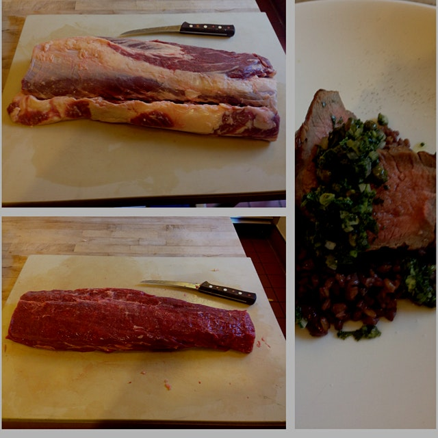From whole cut to composed dish, Long Meadow Ranch's own grass-fed Scottish Highland beef ribeye....