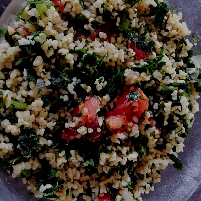 Tabouli with local tomatoes and parsley. Heavy on the bulgar which makes it a great standalone di...