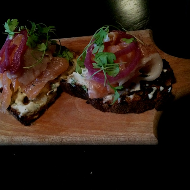 Smoked Salmon Crostini at Locanda Verde - it was delish!!
