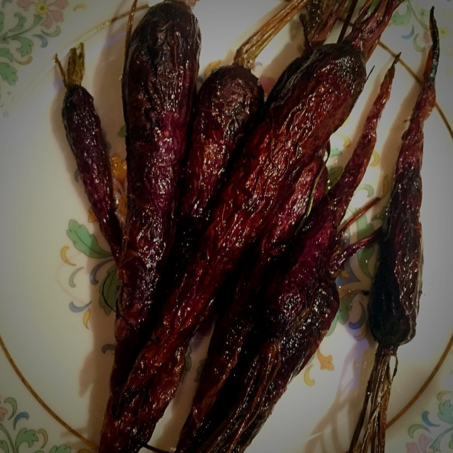 Farmstand roasted purple carrots