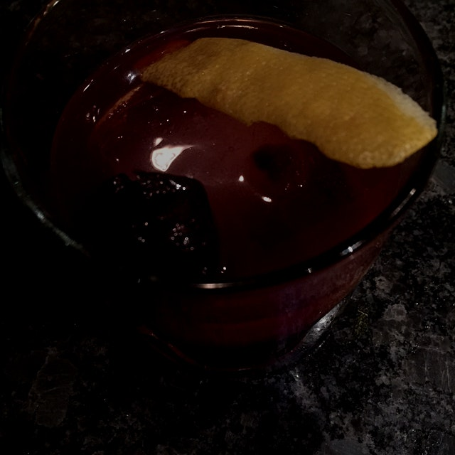 Black cherry old fashioned with Templeton Rye