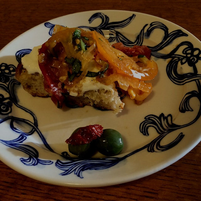 Super Decadent Heirloom & Burrata Caprese over Garlic Toast