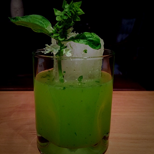 Basil flower margarita with Iowa honey
