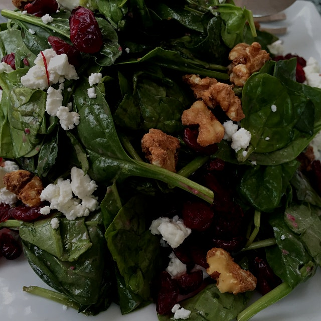 Spinach and goat cheese salad - simple and lovely In Middletown NY