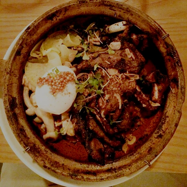 Korean short rib with farm egg and barley